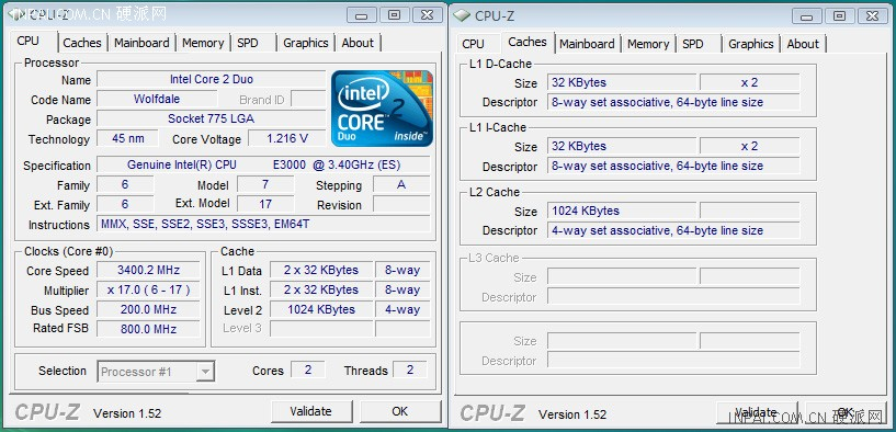 E3900 CPU-Z Screenshot